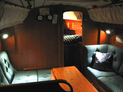 sail boat interior with marine Dr. LED lights