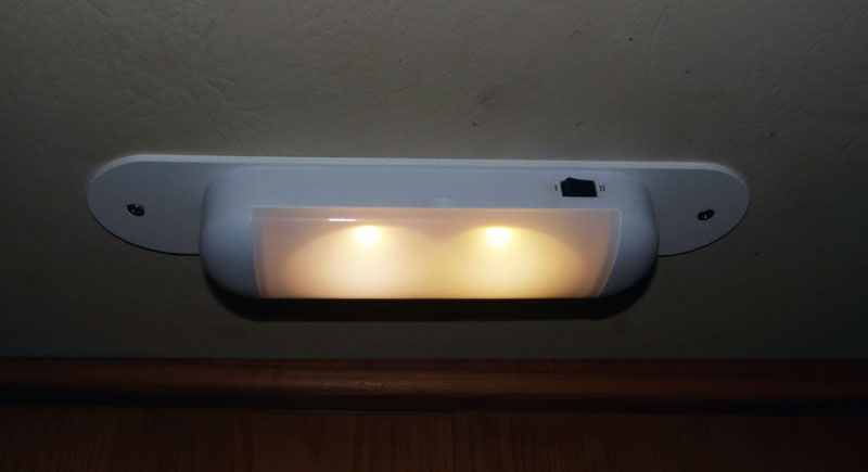 under-cabinet LED light in a sailboat
