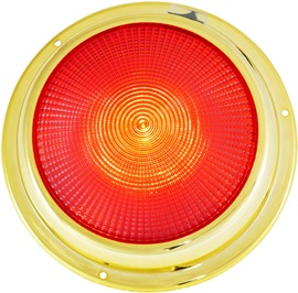 "6 3/4"" LED brass dome light red"